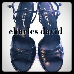 "Charles David Leather Strappy Sandals 4 1/2"" Heel!"